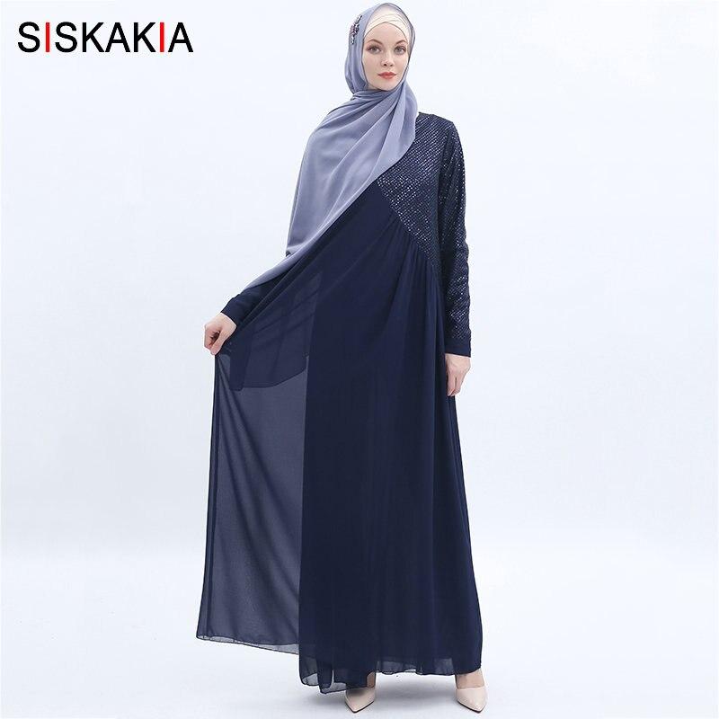 Siskakia haute qualité en mousseline de soie longue robe de mode paillettes Patchwork Maxi robes musulmanes femmes Jubah solide été 2019
