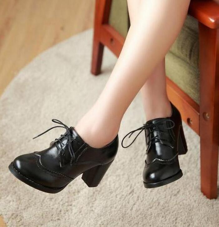 4111591e4e1 Oxfords High Block Heels Shoes Womens Wingtip Lace Up Pumps Brogues Retro  Shoes A8-in Women s Pumps from Shoes on Aliexpress.com