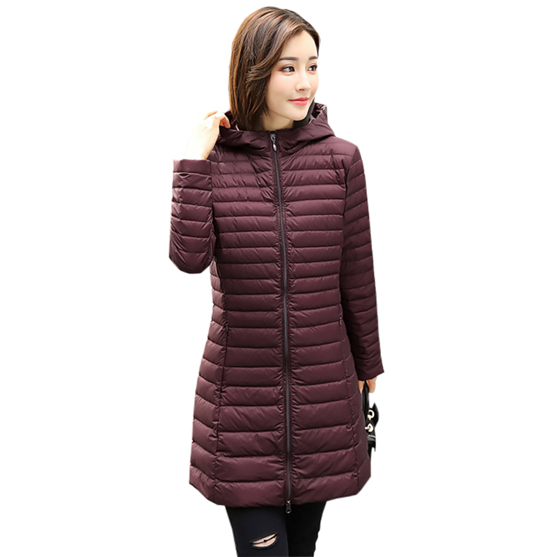 New Winter Light Thin   Down     Coat   Female Long Hooded Slim Jackets White Duck   Down     Coats   Women Outwear Casual   Coats   RE0145