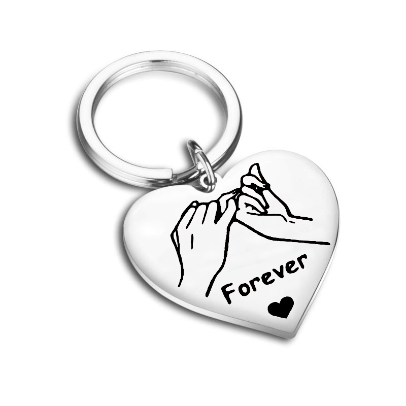 Custom Key Chain Forever Couple Keychain For Keys Heart-shaped Pendant Stainless Steel Key Ring Valentine's Day Love Gift