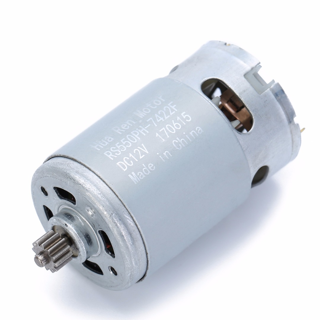 1pc Metal RS550 Motor 12 Teeth Gear 3mm Shaft Dia. 12V 16.8V 21V For Cordless Drill With Strong Magnetic Carbon Brush Mayitr image
