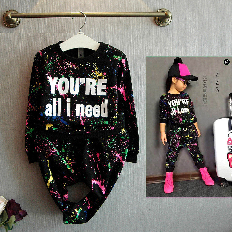 new fashion girls tracksuit baby kids sport clothes set colorful letter printed children suit clothing set for 2-7years old 2016 new type of cotton children tracksuit suit girls underwear baby home clothes and children s clothes