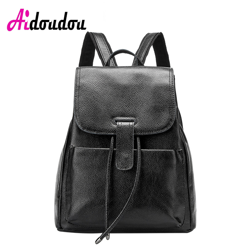 AIDOUDOU BRAND Backpacks For Teenage Girls Mochila Feminina Escolar Drawstring Hasp Solid Bag Backpack Travel Pu Noir M2903AC жакет hugo hugo boss hugo hugo boss hu286ewjtv96