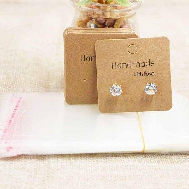 Vintage Diy Handmade With Love Jewelry Package Display Card Pretty Stud Earring 100pcs