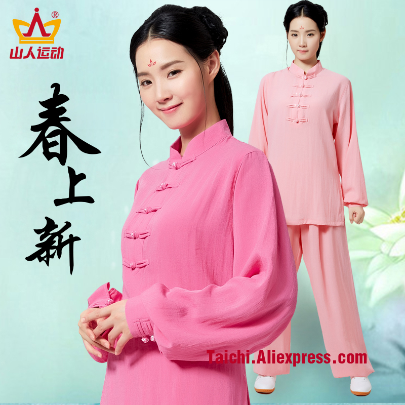 цены Flax and Cotton Female Handmade Linen Tai Chi Uniform Wushu Kung Fu martial art Suit Chinese Stlye Sportswear Jacket Pants