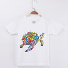 c33660558 Children Clothing T-Shirt Kids White Cotton Fashion Short Sleeve Girls Tees  Funny Creative Sea Turtle Printing Child Shirt Boys