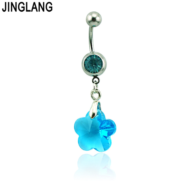 Us 1 46 5 Off Brand New Belly Button Rings 316l Stainless Steel Barbells Dangle 4 Color Glass Star Navel Piercing Jewelry In Body Jewelry From