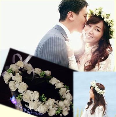10PCS/ Mori girl bride headdress wreath wreath Mori Hair Studio Photos Korean seaside holiday Wedding Jewelry artificial flowers