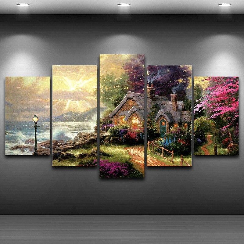 Картина на холсте, Модульная картина, Современная рамка для гостиной, Декор, 5 панелей, на море, дача, классическая картина маслом, HD печать, PENGDA|modern frames|oil painting|hd prints - AliExpress
