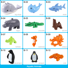 Marine Life Aquatic Animal Model Figure Building Blocks Accessories Whale Shark Educational Toy For Kids Compatible With Duploed