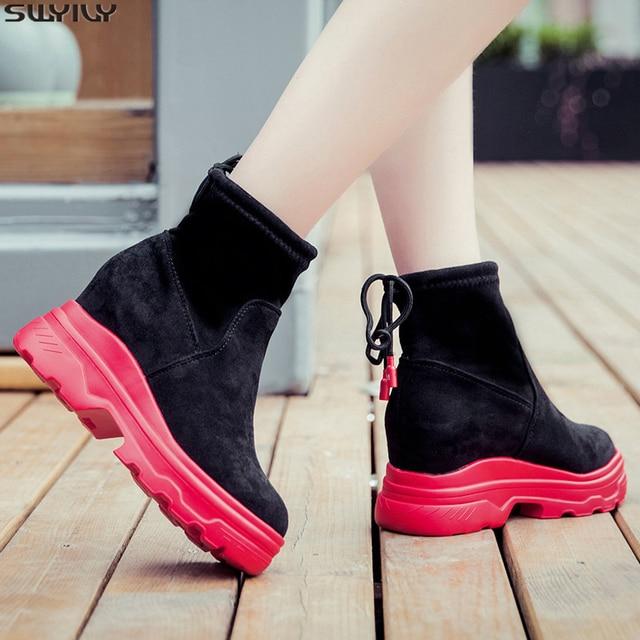 SWYIVY siyah ayakkabı kadın günlük ayakkabılar geri dantel 2019 sonbahar kadın ayak bileği yüksek Top Sneakers üzerinde platformu tıknaz Sneaker kadın
