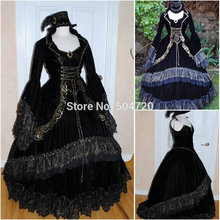 R-061 19 century Vintage Costumes Victorian Gothic Lolita Dress/Civil War Southern Belle Halloween Dresses