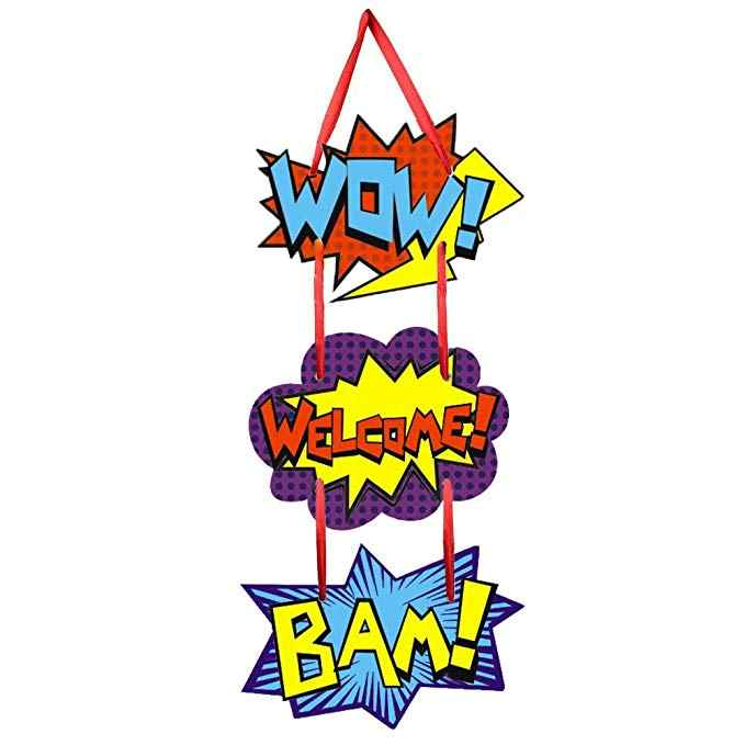 Superhero Themed Party Supplies Superhero Door Sign Room Hanging Welcome Hanger for Kid Birthday Party Decorations Favor