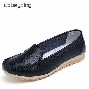 Image 1 - Dobeyping yeni stil ayakkabı kadın yumuşak hakiki deri kadın Flats ayakkabı üzerinde kayma kadın mokasen rahat anne ayakkabı artı boyutu 35 42