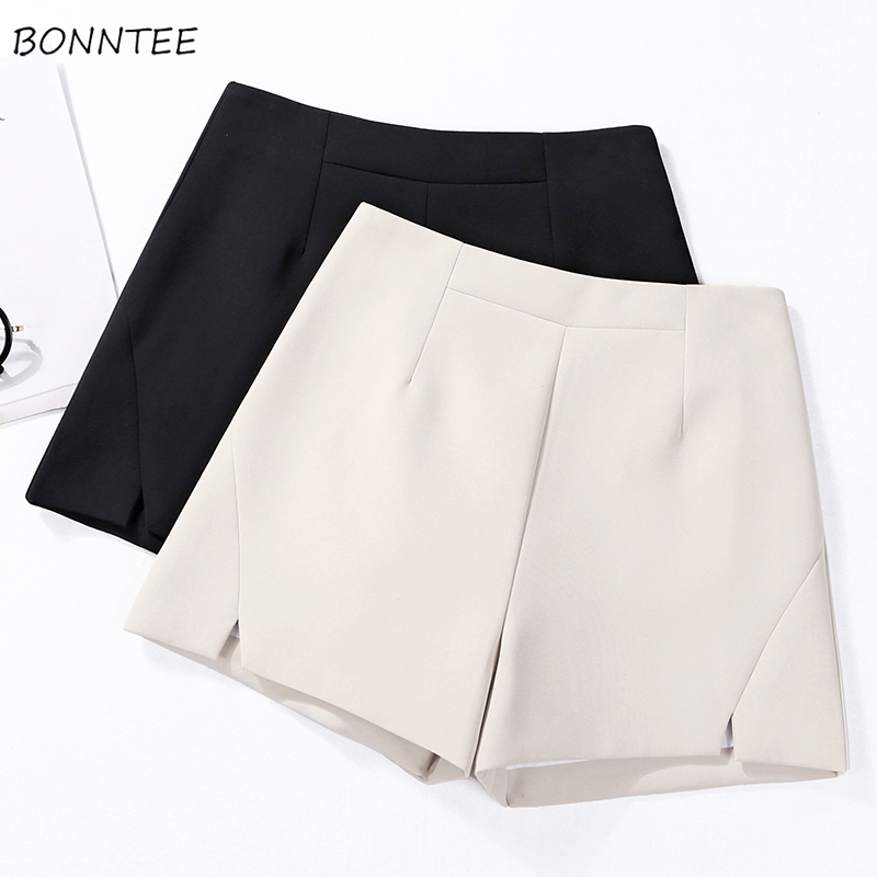 Shorts Women High Waist Loose All-match Trendy Simple Elegant Lovely Korean Style Daily Leisure Solid Ladies Womens New Short