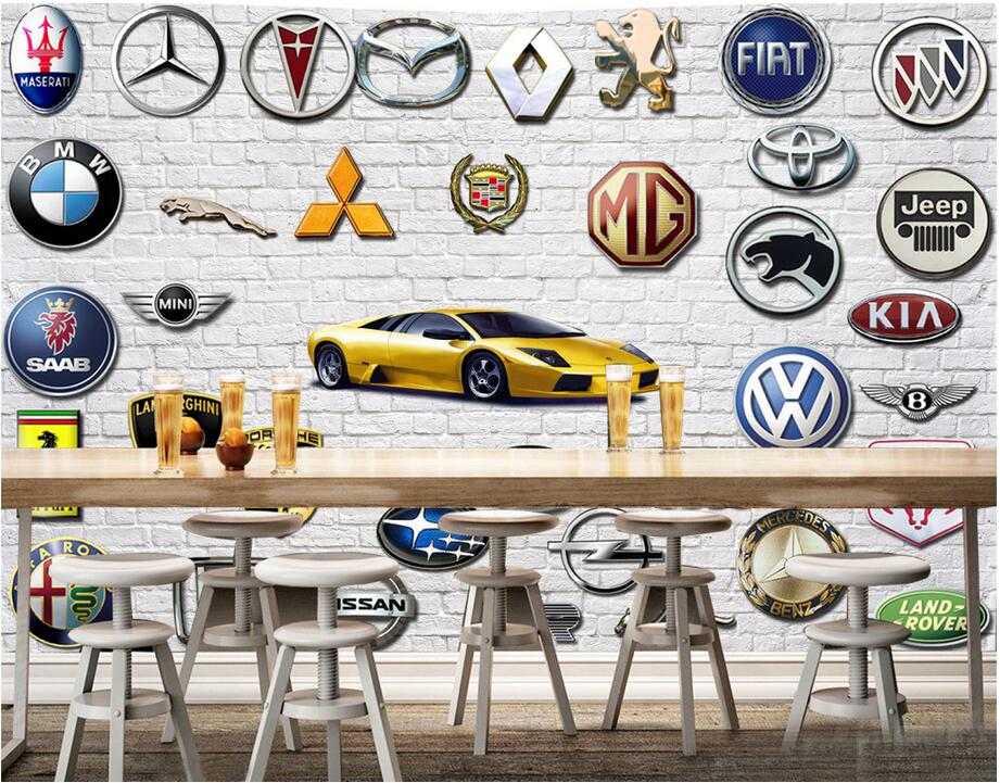 Custom photo 3d wallpaper Non-woven mural Brick wall car logo 3d wall murals wallpaper for walls 3 d room decoration painting 520 gift to send his girlfriend boyfriend wife girlfriends birthday girls creative and practical small gifts valentine children