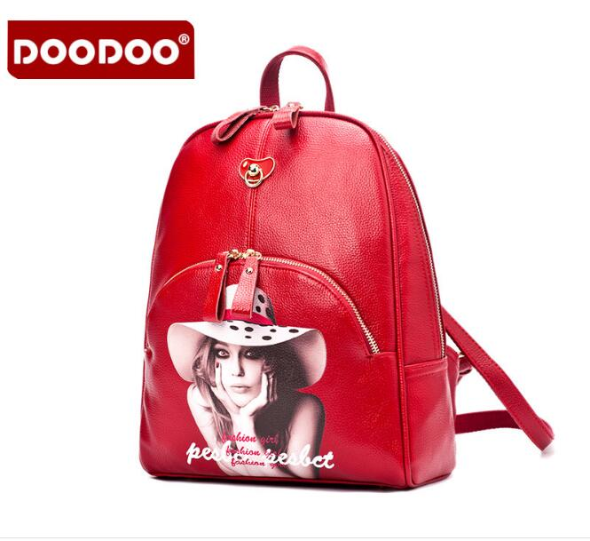 DOODOO Fashion Backpack Retro Style High Quality PU Leather Red bag For Girls School bag Travel Back Pack bolsa mujer FR431