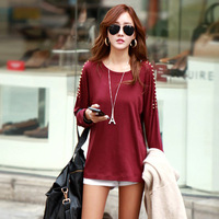 Plus Size XXXXL Korean Autumn Winter Loose Casual Long Sleeve O Neck Rivet Cotton T Shirt