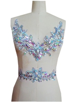 A165 Pure hand made clear AB colour sew on Rhinestones applique crystals patches 29*26cm/38*7cm for dress DIY dress accessory