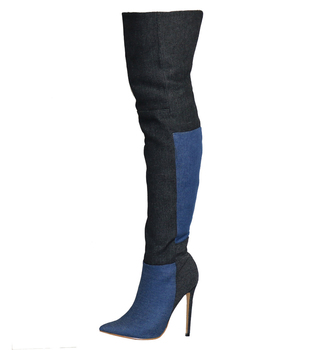 High Quality Women Fashion Pointed Toe Suede Leather Grid Patchwork Color Over Knee Boots Mix-color Long High Heel Boots