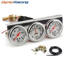 Dynoracing 2inch Chrome Panel Oil Pressure gauge Water Temp gauge Amp Meter Triple Gauge kit Set White Face Car meter BX101323