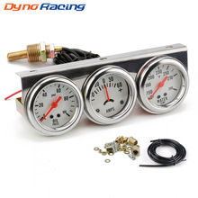 Dynoracing 2inch Chrome Panel Oil Pressure gauge Water Temp gauge Amp Meter Triple Gauge kit Set White Face Car meter BX101323 needle gauge gauge pressure gauge set of 3