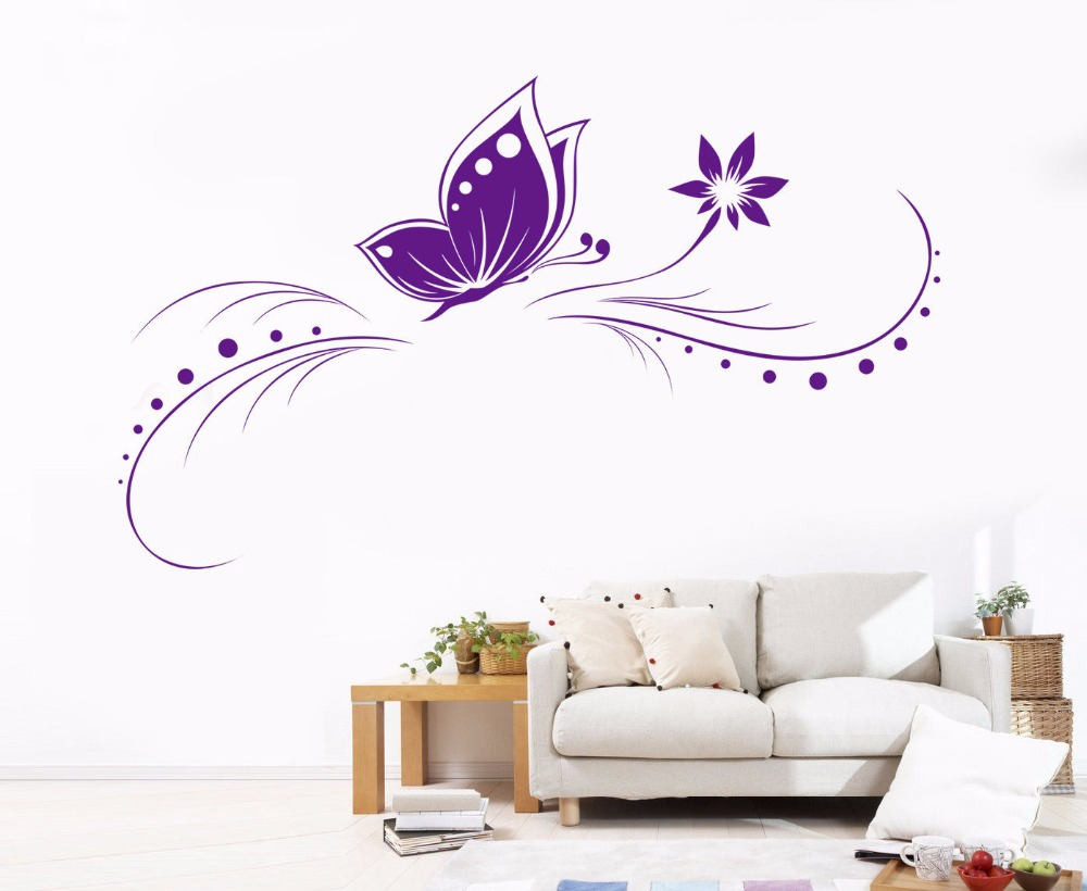 A2 beautiful butterflies flower wall stickers home decor for Beautiful barbie wall decals