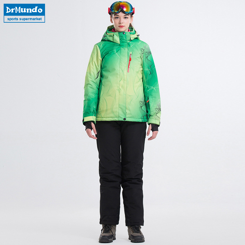2018 New Winter Ski Suit Women's Waterproof Skiing Ski-wear Windproof Snowboarding Coat Outdoor Ski jacket + Pants Sets Brand недорого