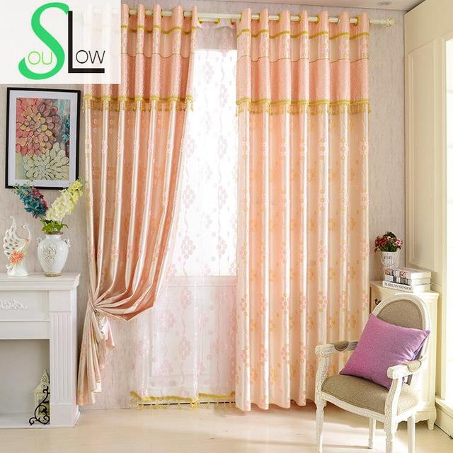 Slow Soul Pink Curtain Dyed Jacquard Living Room Bedroom Curtains ...