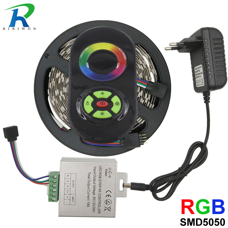 5m smd 5050 Led Strip RGB strip Light DC 12V 30Leds/m NoWaterproof Flexible with control and adapter Home Decoration Ribbon Tape