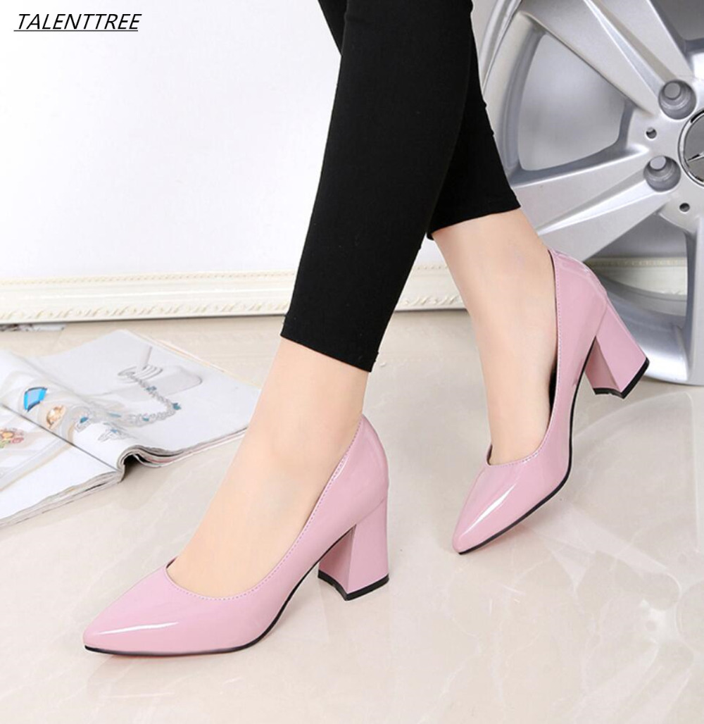 Detail Feedback Questions about Spring women high heels fashion woman  Wedding Leather shoes elegant lady square toe pump OL office Single 35 40  sapato ... a3fc309000e2