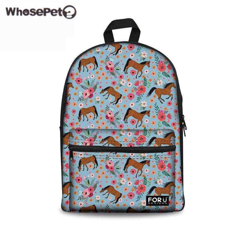 WHOSEPET Horse Grade School Backpack For Girls Fashion Children Japanese Schoolbag College Daily Pack Women Large Laptop Mochila
