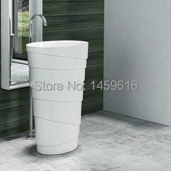 Round Bathroom Stone Resin Pedestal Washbasin Cloakroom Solid Surface Stone Freestanding Vanity Sink W9006