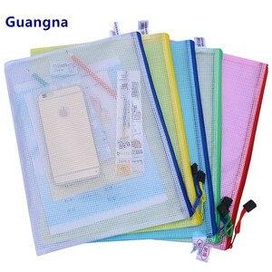 1 pcs Waterproof Plastic Zipper Paper File Folder Book Pencil Pen Case Bag File document bag for office student supplies(China)