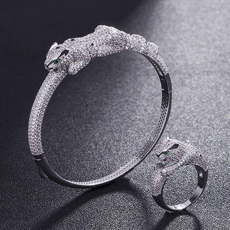 Rhodium Silver Color Men Bangles Leopard Bangle Accessory cubic Zircon Love Bangle Anel Men copper Wedding Anniversary Jewelry