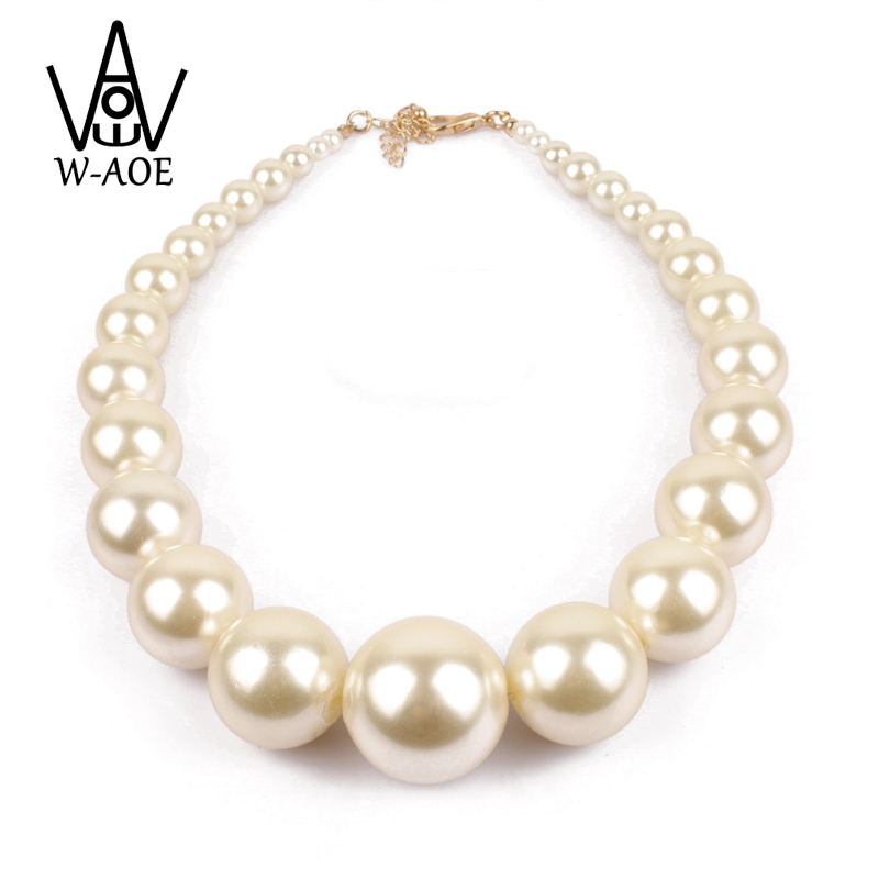W-AOE Fashion Jewelry Trendy Elegant Simulated Big Pearl Necklaces For Women Baroque Bead Choker Necklace Wedding Bridal Gift