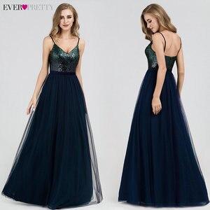 Image 2 - סקסי ערב שמלות אי פעם די EP07392NB נצנצים צווארון V הכחול כהה ארוך פורמליות שמלות 2020 Robe דה Soiree Paillette