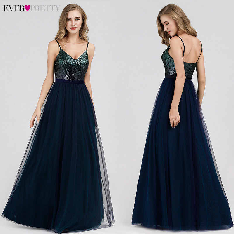 Sexy Evening Dresses Ever Pretty EP07392NB Sequined A-Line V-Neck Navy Blue Long Formal Dresses 2020 Robe De Soiree Paillette
