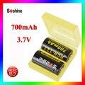 Soshine rcr li-ion 123 3.7 v 16340 700 mah protegido bateria de lítio recarregável (2 pcs) com caixa de bateria