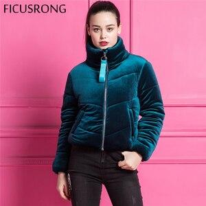 Image 2 - Moda de veludo algodão acolchoado básico casaco jaqueta quente azul parkas jaquetas feminino outono inverno jaqueta outerwear feminino ficusrong