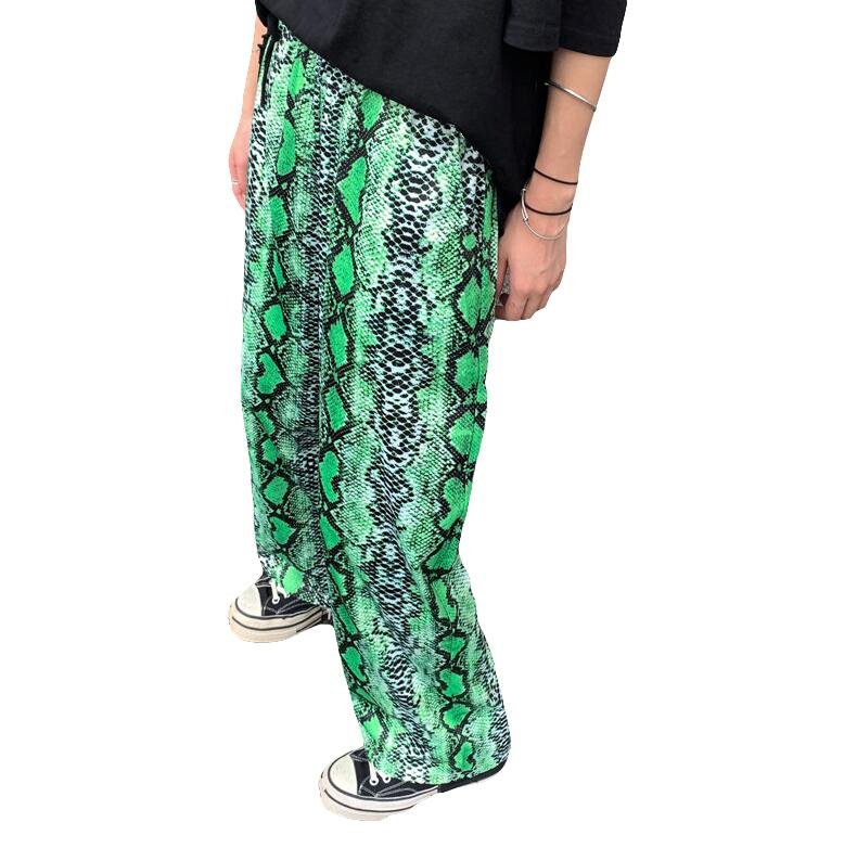 Summer new casual snake print loose trousers   wide     leg     pants   women