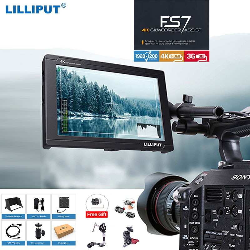 Lilliput FS7 HD 1920x1200 3G SDI 4K HDMI in out camera Video 7 inch Field Monitor