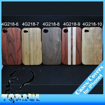 Wholesale  Natural wood skin case for iphone, bamboo cover for mobile phone free shipping 4G218