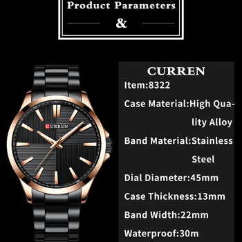 CURREN Men's Stainless Steel Luxury Business Hour Waterproof Quartz Watches  1