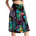 NEW Arrival 0009 Sexy Girl Women Summer Colorful goldfish KOI 3D Prints Skater Pleated Skirt Knee Length Skirts With Pocket