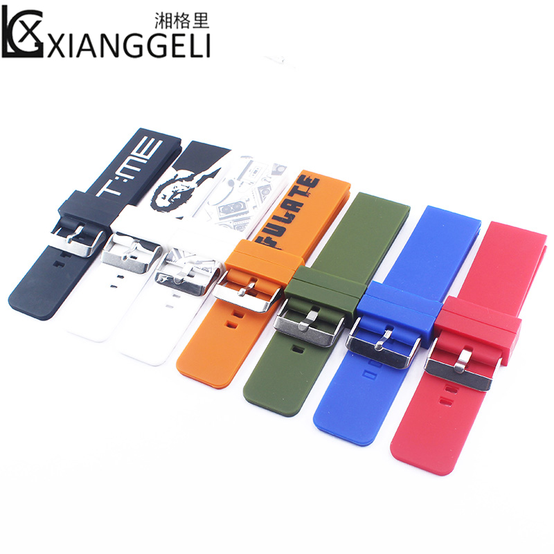 Watch accessories Silicone strap 26mm pin buckle strap Suitable for Garmin Officine and other outdoor sports men's watch band multi color silicone band for garmin fenix 5x 3 3hr strap 26mm width outdoor sport soft silicone watchband for garmin 26mm band