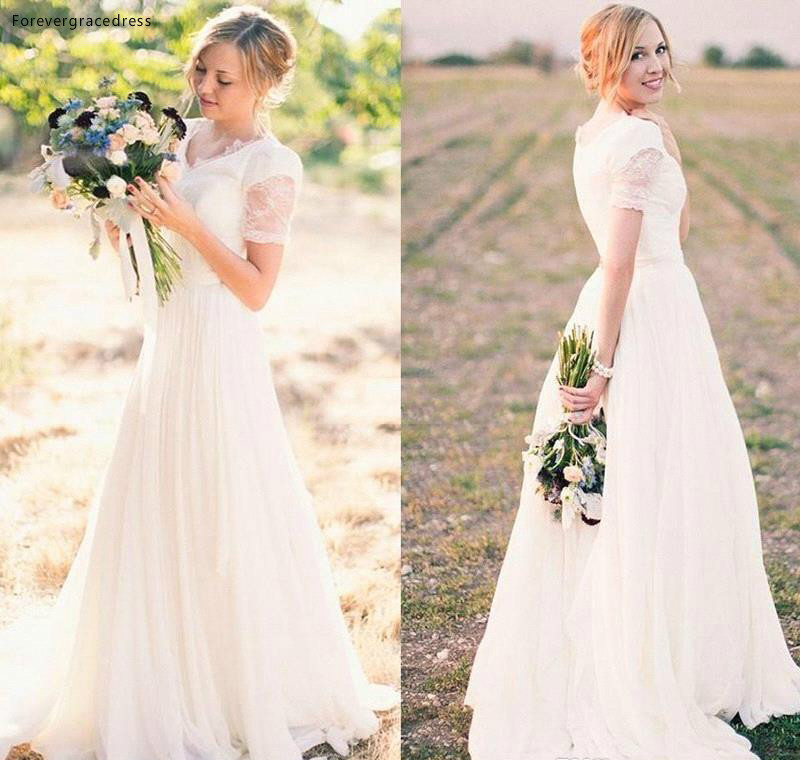 2019 New Spring Summer Bohemian Wedding Dresses Country Western Bridal Gowns A Line Cap Sleeve Sheer Appliqued Long Boho Wedding Gown BC1098 139 (2)