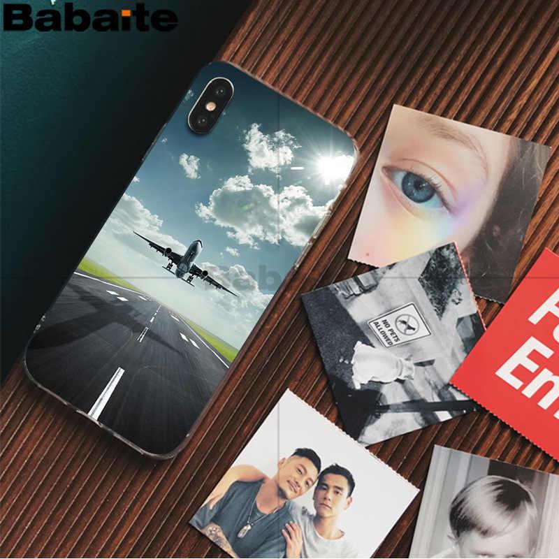 Babaite 飛行機飛行機飛行機フライ旅行クラウド印刷描画電話 apple の iphone 5 8 7 6 6 s プラス x xs 最大 5 5 s 、 se xr