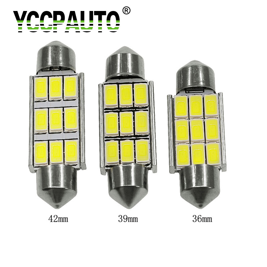 YCCPAUTO 36/39/42mm C5W C10W LED Festoon CANBUS NO Error Car Licence Plate Auto Dome Reading Lights 5630 9SMD Lamps White 1PCS 2pcs festoon led 36mm 39mm 41mm canbus auto led lamp 12v festoon dome light led car dome reading lights c5w led canbus 36mm 39mm