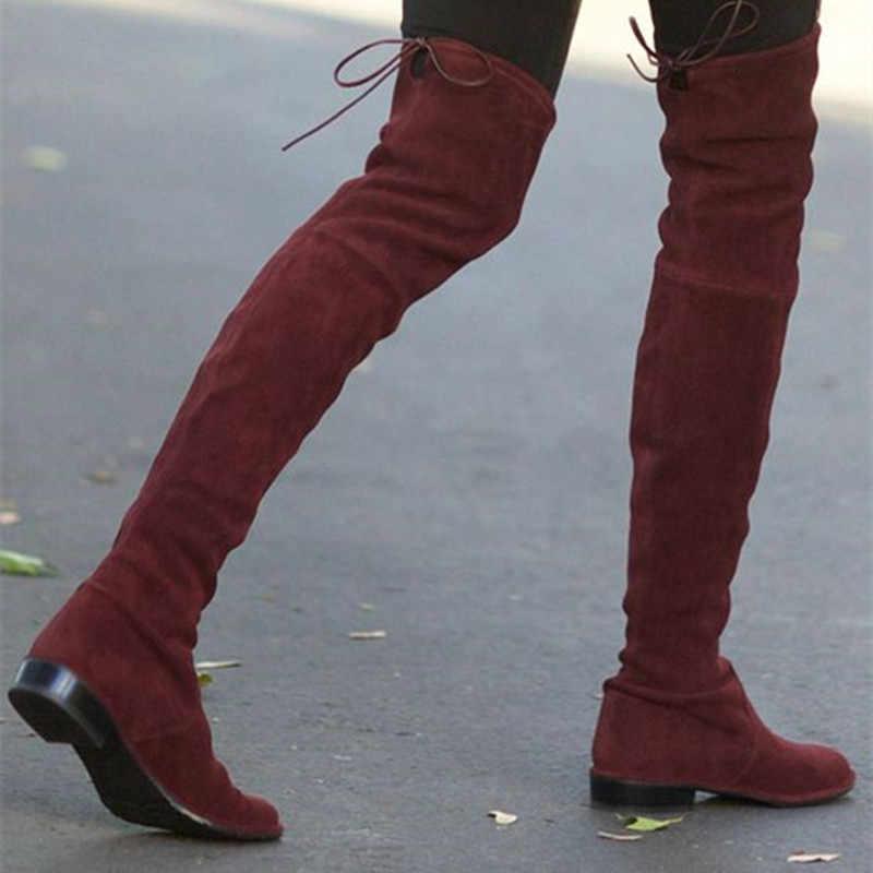 4115a267955 ... 2017 Fall Best Slim Fashion Beige Black Grey Stretch Suede Thigh High  Boots Over ...